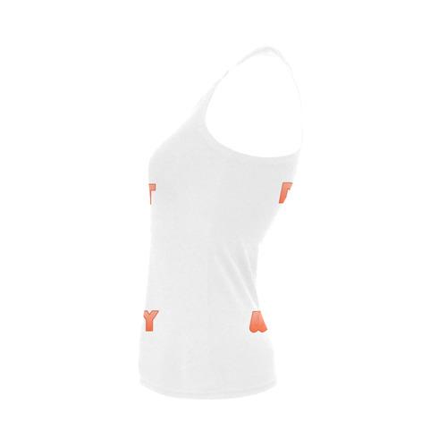 Funny Orange Donut - Don't Worry Women's Shoulder-Free Tank Top (Model T35)