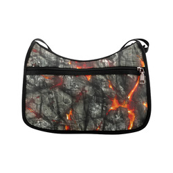 Red fire, black stone fantastic abstract texture Crossbody Bags (Model 1616)