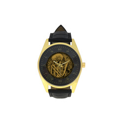 The skeleton in a round button with flowers Men's Golden Leather Strap Watch(Model 210)