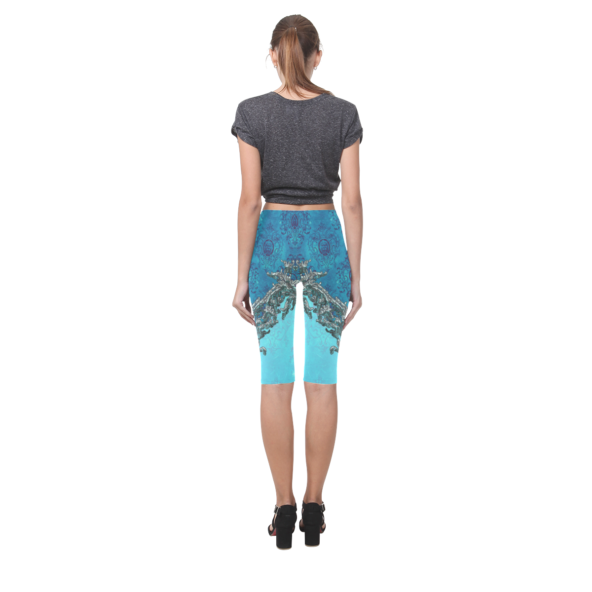 Vintage design with lion Hestia Cropped Leggings (Model L03)