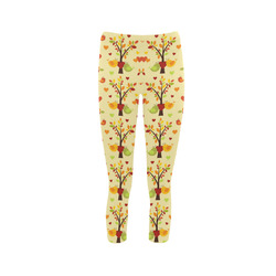Autumn LOVE Pattern with TREEs, BIRDs and HEARTS Capri Legging (Model L02)