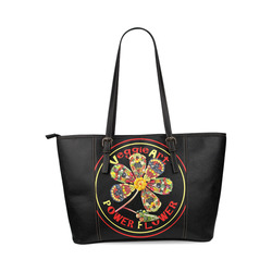 VeggieArt Power Flower Leather Tote Bag/Large (Model 1640)