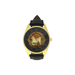 Beautiful horse silhouette in yellow colors Men's Golden Leather Strap Watch(Model 210)