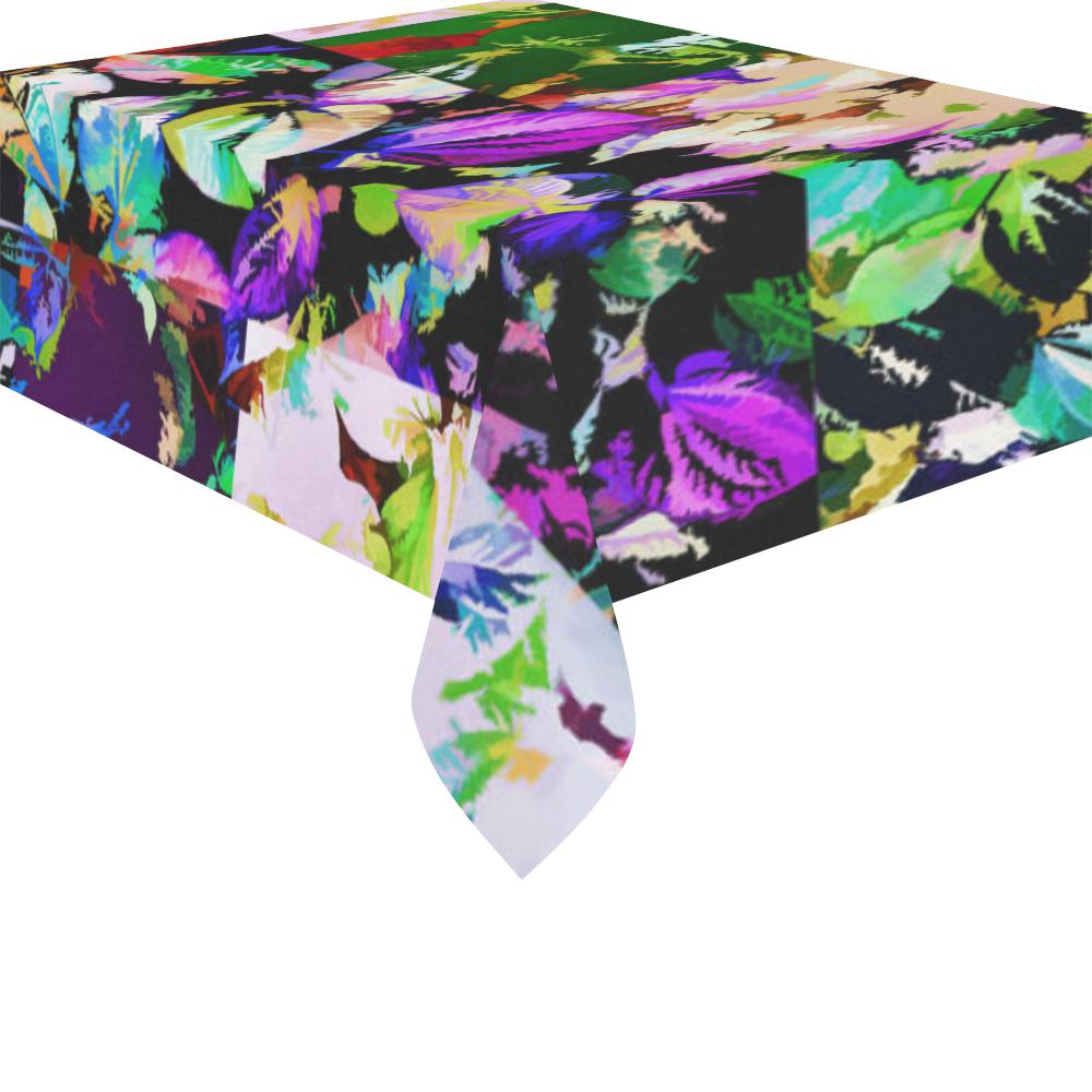 """Foliage Patchwork #14 - Jera Nour Cotton Linen Tablecloth 52""""x 70"""""""