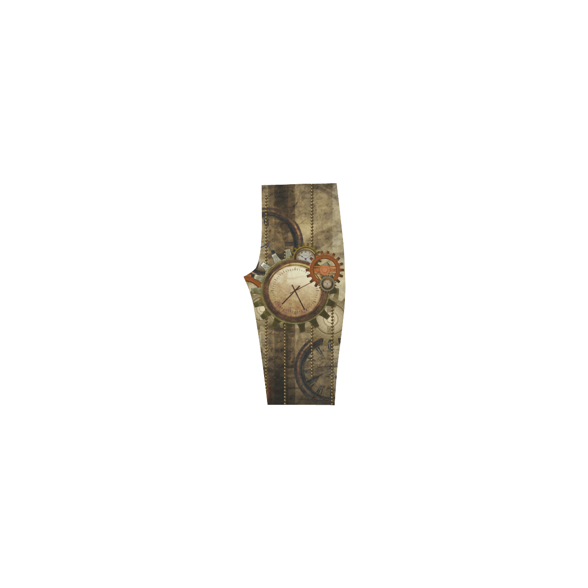 Steampunk, wonderful noble desig, clocks and gears Hestia Cropped Leggings (Model L03)