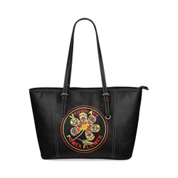 VeggieArt Power Flower Leather Tote Bag/Small (Model 1640)