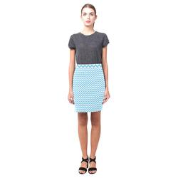 Bright Blue and white small zigzag chevron Nemesis Skirt (Model D02)