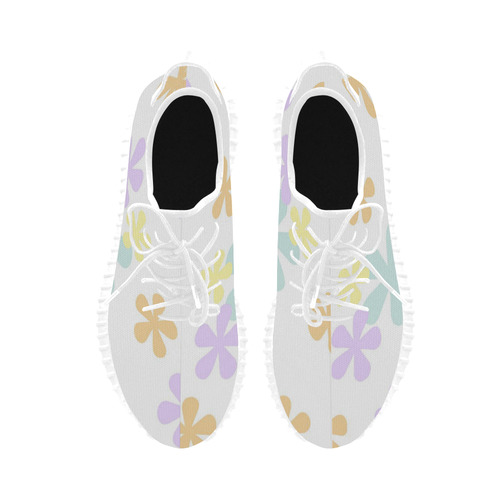 Pastel Retro Flowers Grus Women's Breathable Woven Running Shoes (Model 022)