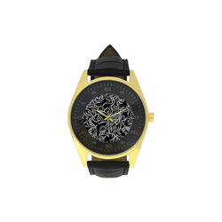 Black Tribal Turns Men's Golden Leather Strap Watch(Model 210)