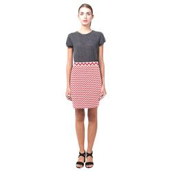 Poppy Red and white small zigzag chevron Nemesis Skirt (Model D02)