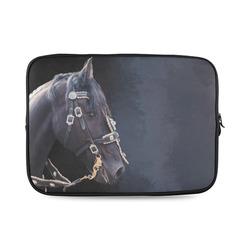 A beautiful painting black friesian horse portrait Custom Laptop Sleeve 14''