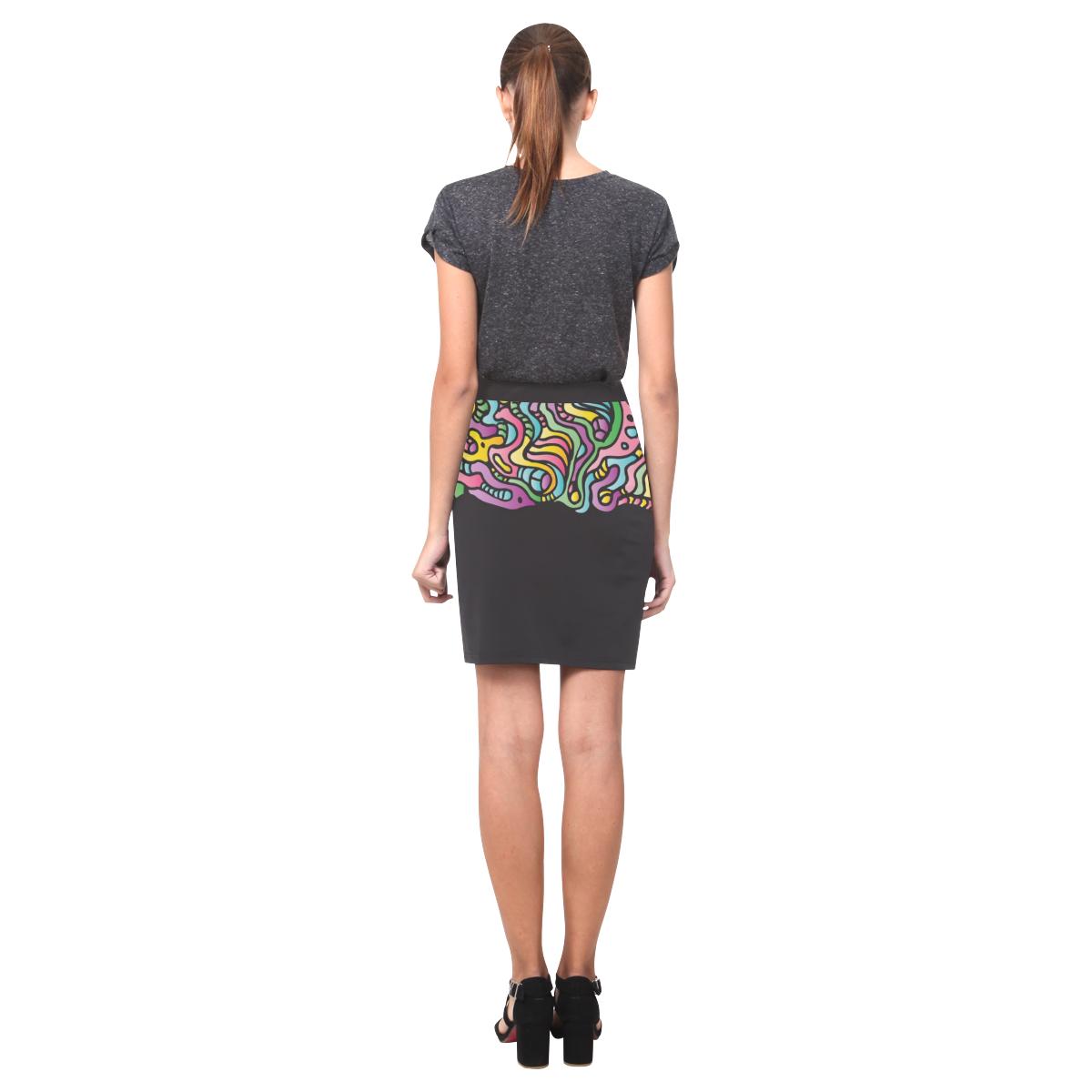 Colorful Tidal Pool, abstract animals, black Nemesis Skirt (Model D02)