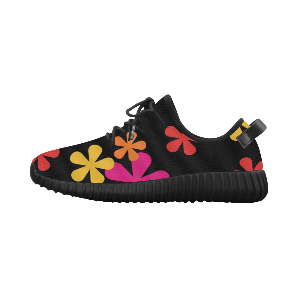 Neon Retro Flowers Grus Women's Breathable Woven Running Shoes (Model 022)