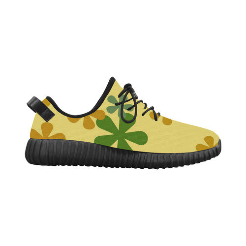 Orange and Green Retro Flowers Grus Women's Breathable Woven Running Shoes (Model 022)