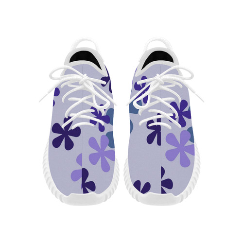 Blue Retro Flowers Grus Women's Breathable Woven Running Shoes (Model 022)