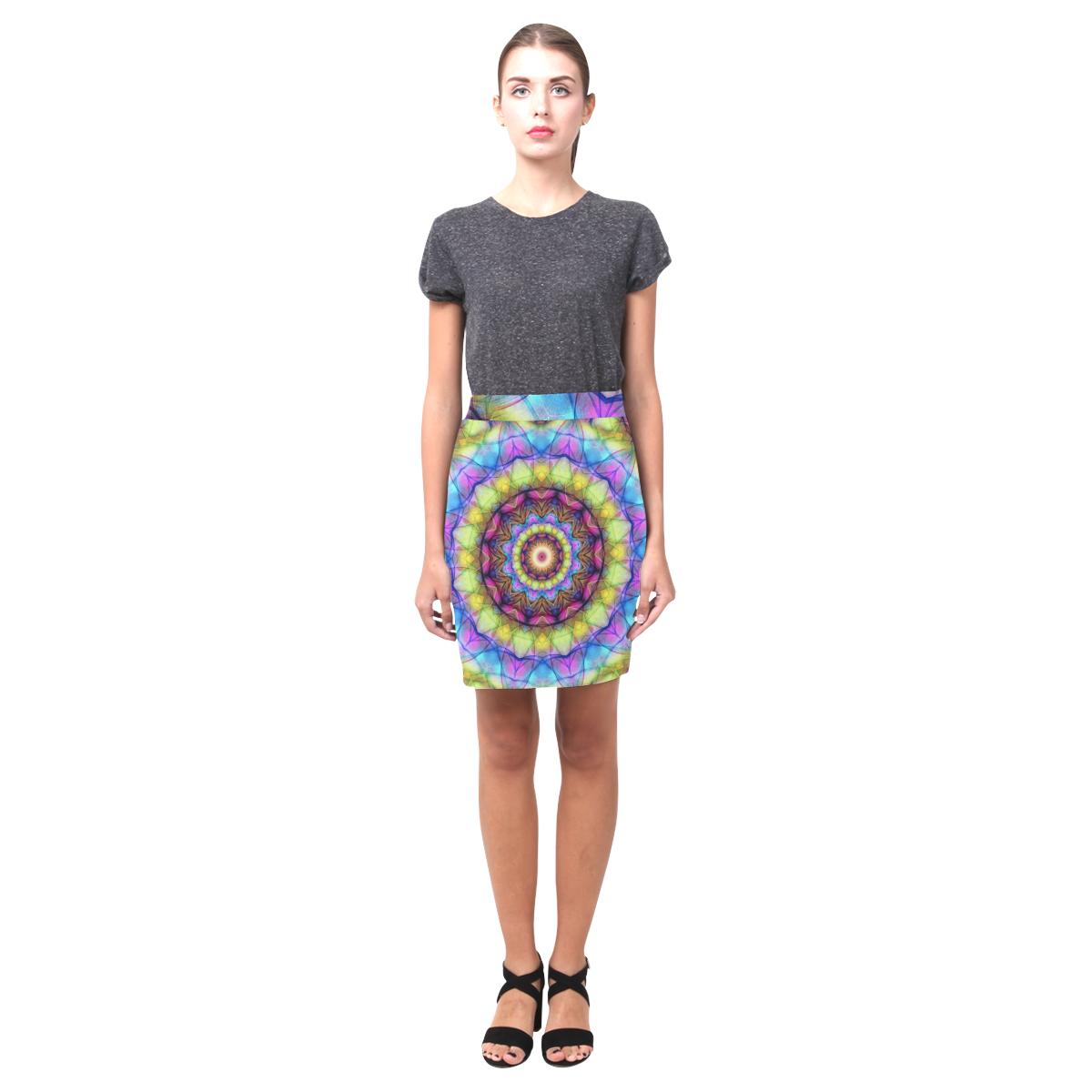 rainbow glass Mandala bright Nemesis Skirt (Model D02)