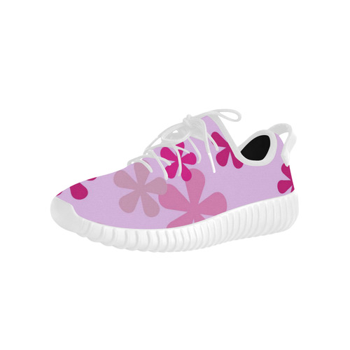 Pink Retro Flowers Grus Women's Breathable Woven Running Shoes (Model 022)