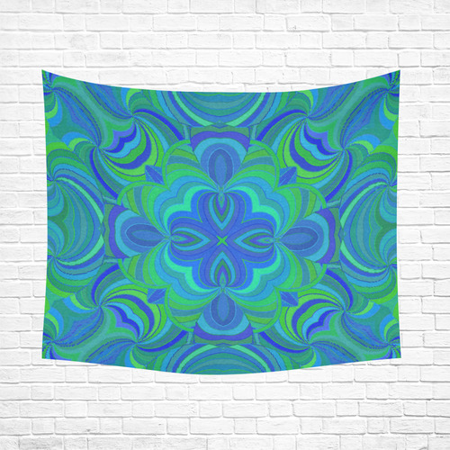 """Abstract - Blue and Green Original Unique Cotton Linen Wall Tapestry 60""""x 51"""""""
