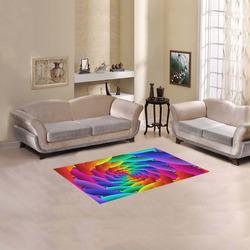 "Psychedelic Rainbow Spiral Petals Fractal Area Rug 2'7""x 1'8''"