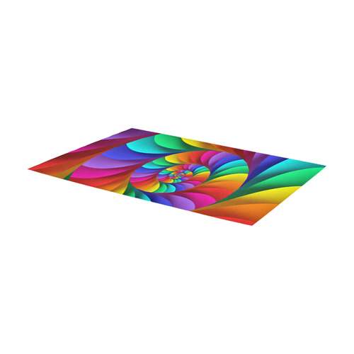 Psychedelic Rainbow Spiral Fractal Area Rug 7'x3'3''