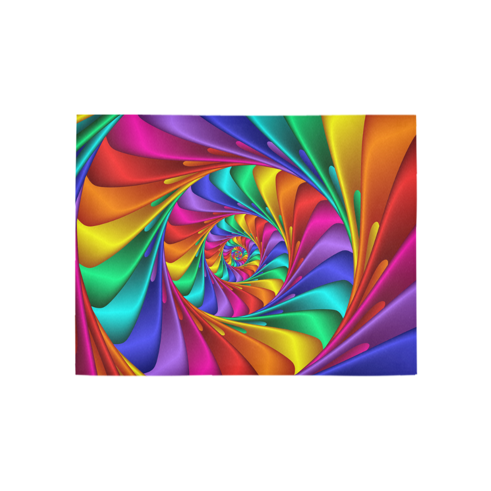 Psychedelic Rainbow Spiral Fractal Area Rug 5'3''x4'