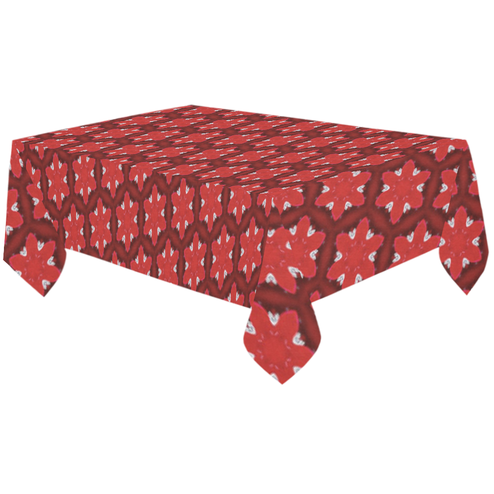 """Red Passion Floral Pattern Cotton Linen Tablecloth 60""""x120"""""""