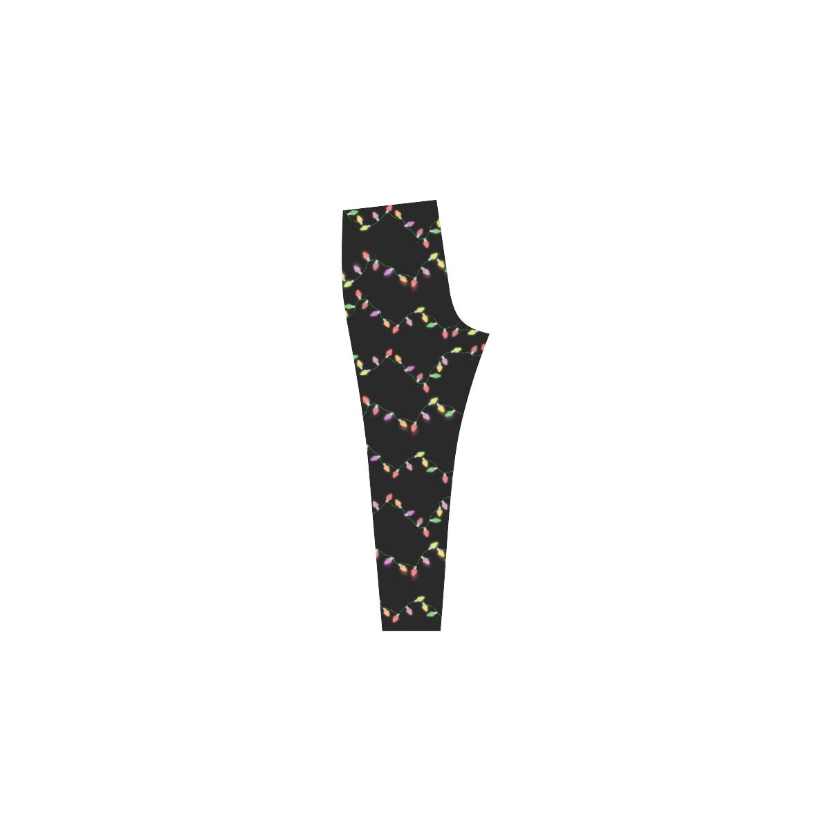 Festive Christmas Lights on Black Cassandra Women's Leggings (Model L01)