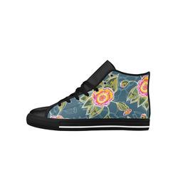 Floral Fantsy Pattern Aquila High Top Microfiber Leather Men's Shoes (Model 027)