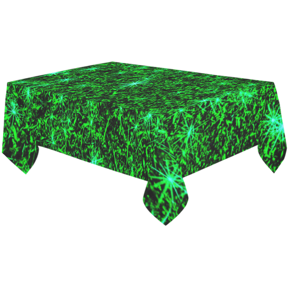 "Sparkling Green - Jera Nour Cotton Linen Tablecloth 60""x120"""