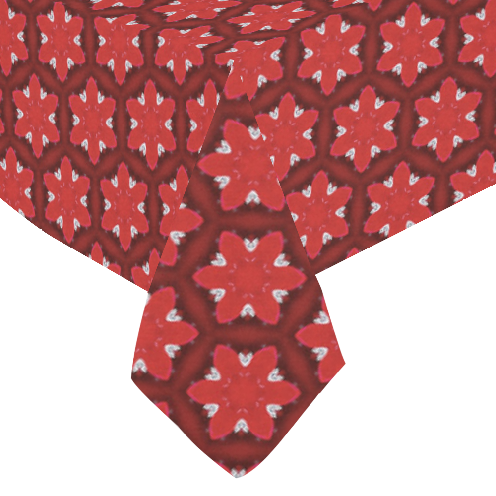 """Red Passion Floral Pattern Cotton Linen Tablecloth 60""""x 84"""""""