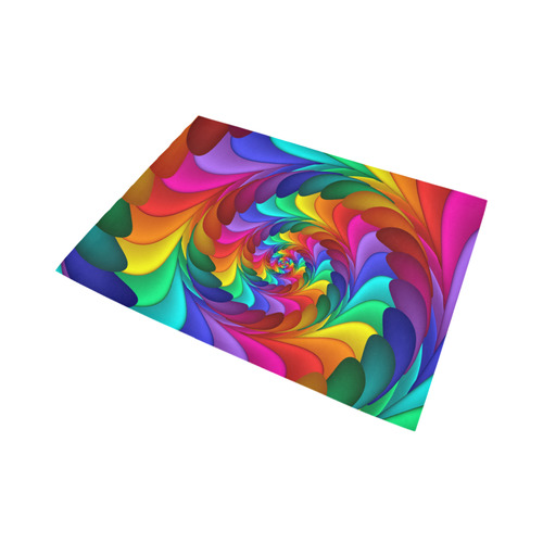 Psychedelic Rainbow Spiral Fractal Area Rug7'x5'