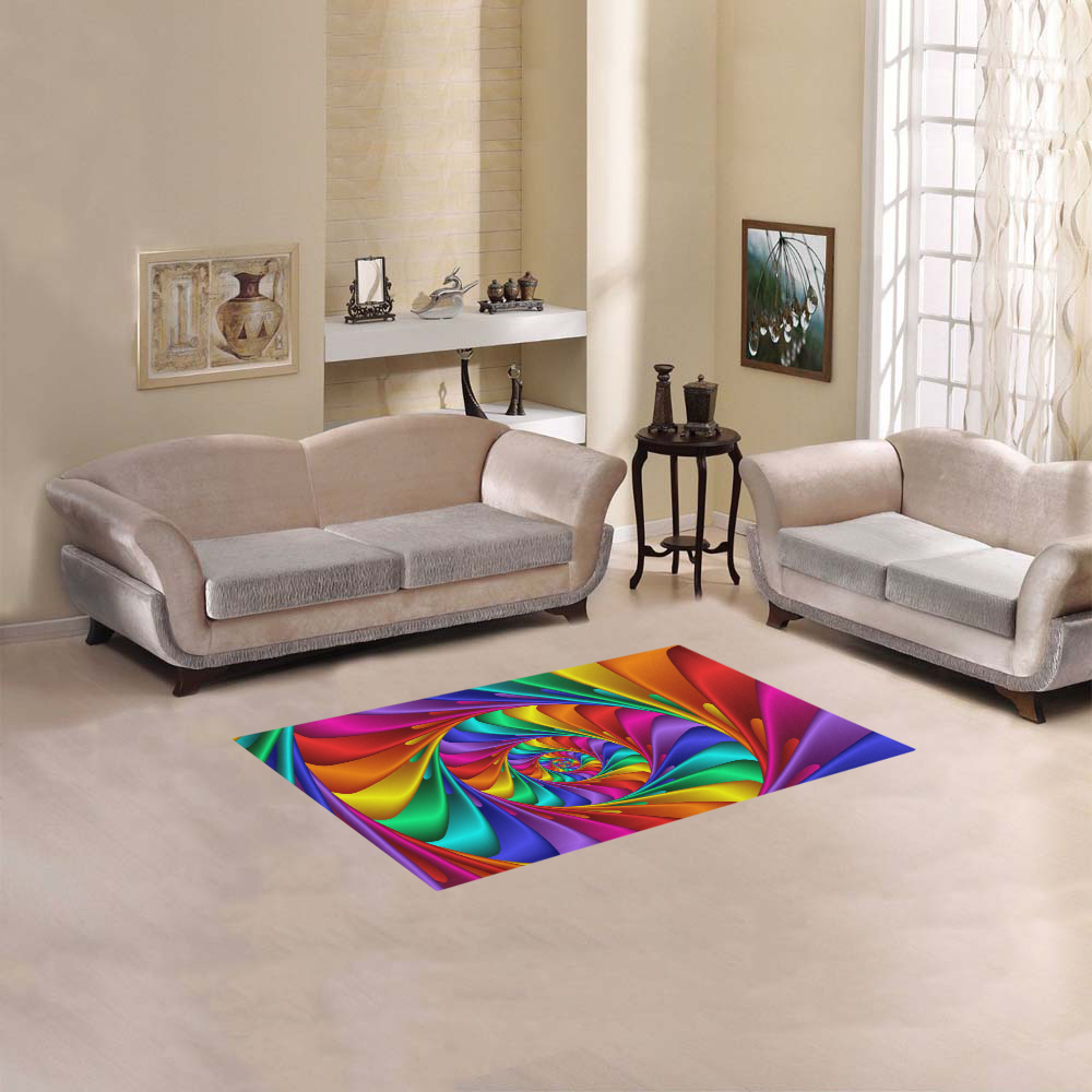 "Psychedelic Rainbow Spiral Fractal Area Rug 2'7""x 1'8''"