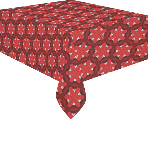 "Red Passion Floral Pattern Cotton Linen Tablecloth 52""x 70"""