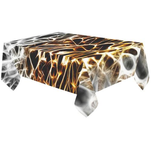 "Foliage #10 Gold & Silver - Jera Nour Cotton Linen Tablecloth 60""x120"""