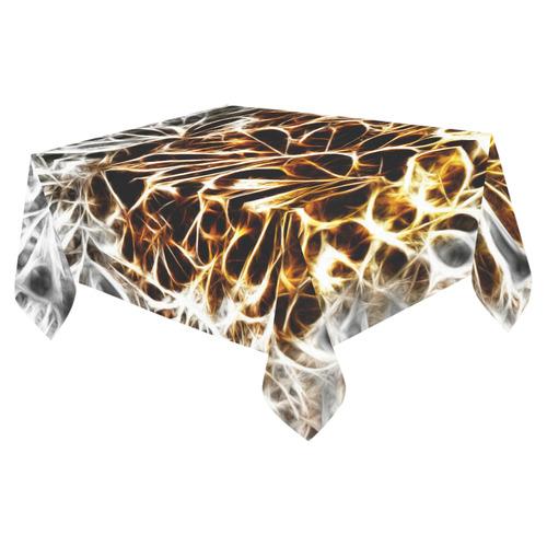 "Foliage #10 Gold & Silver - Jera Nour Cotton Linen Tablecloth 52""x 70"""