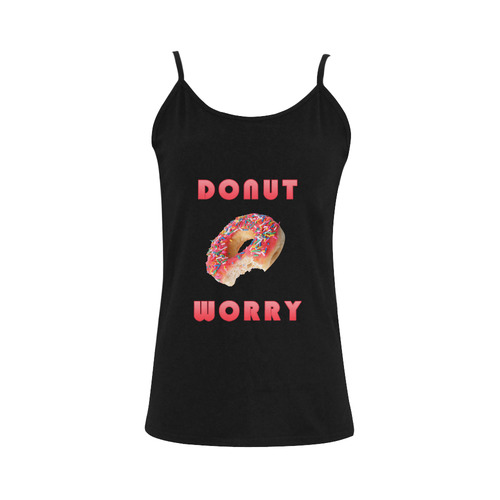 Funny Red Don't Worry / Donut Worry Women's Spaghetti Top (USA Size) (Model T34)