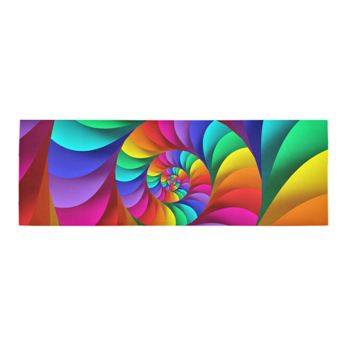 Psychedelic Rainbow Spiral Fractal Area Rug 10'x3'3''
