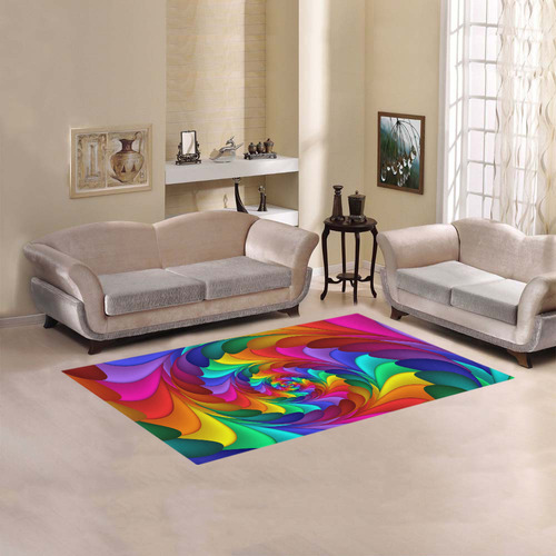 Psychedelic Rainbow Spiral Fractal Area Rug 5'x3'3''