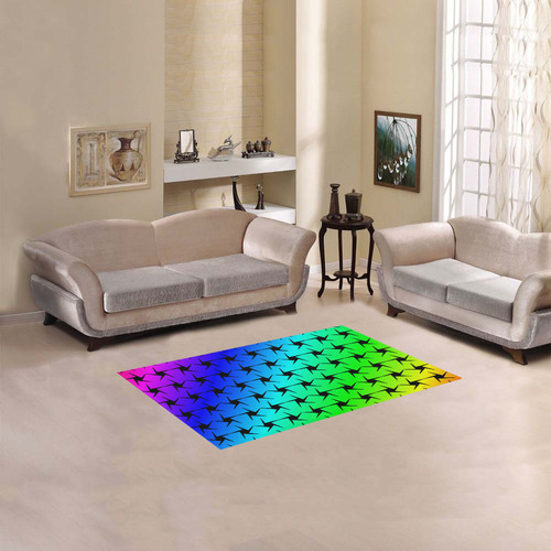 "Colorful Black Star Area Rug 2'7""x 1'8''"