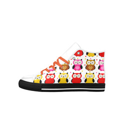 Cute Owls Animal Nature Pattern Aquila High Top Microfiber Leather Women's Shoes (Model 027)