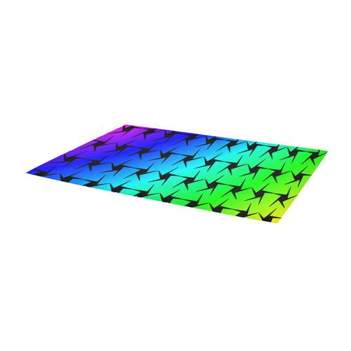 Colorful Black Star Area Rug 10'x3'3''