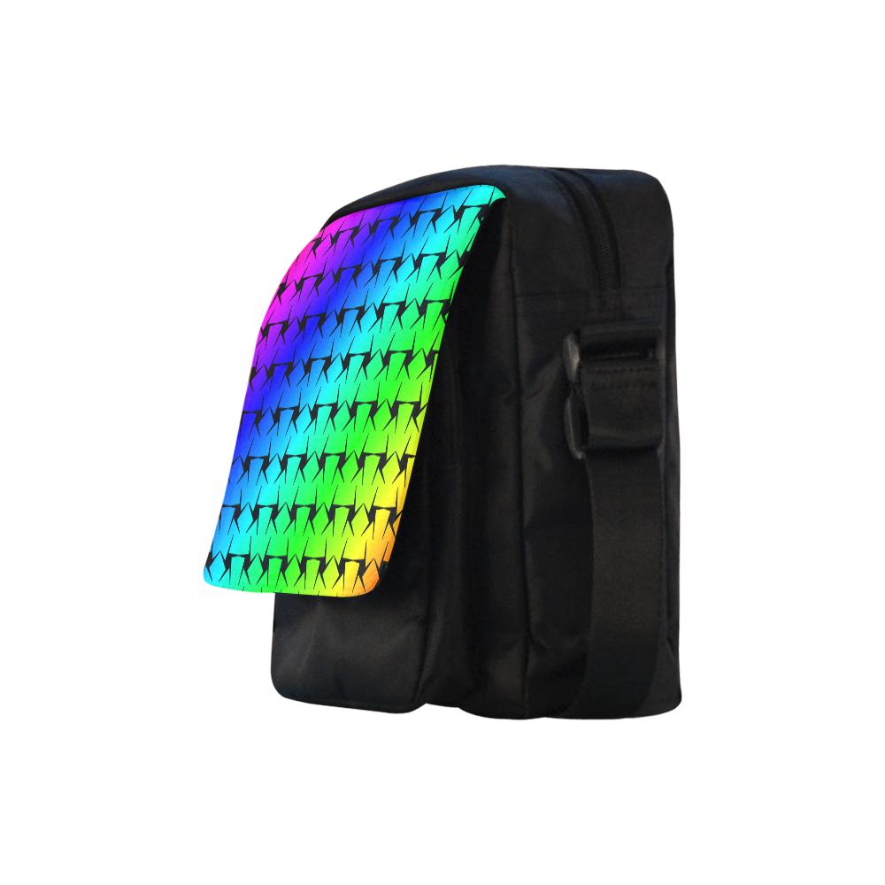 Colorful Black Star Crossbody Nylon Bags (Model 1633)