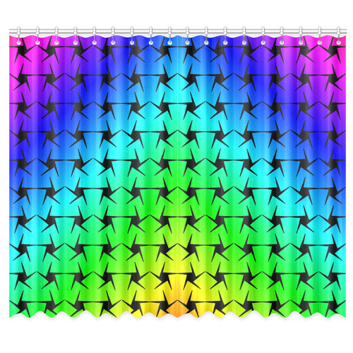 """Colorful Black Star Window Curtain 50""""x84""""(Two Piece)"""