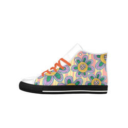 Colorful Flowers and Lines Aquila High Top Microfiber Leather Men's Shoes (Model 027)