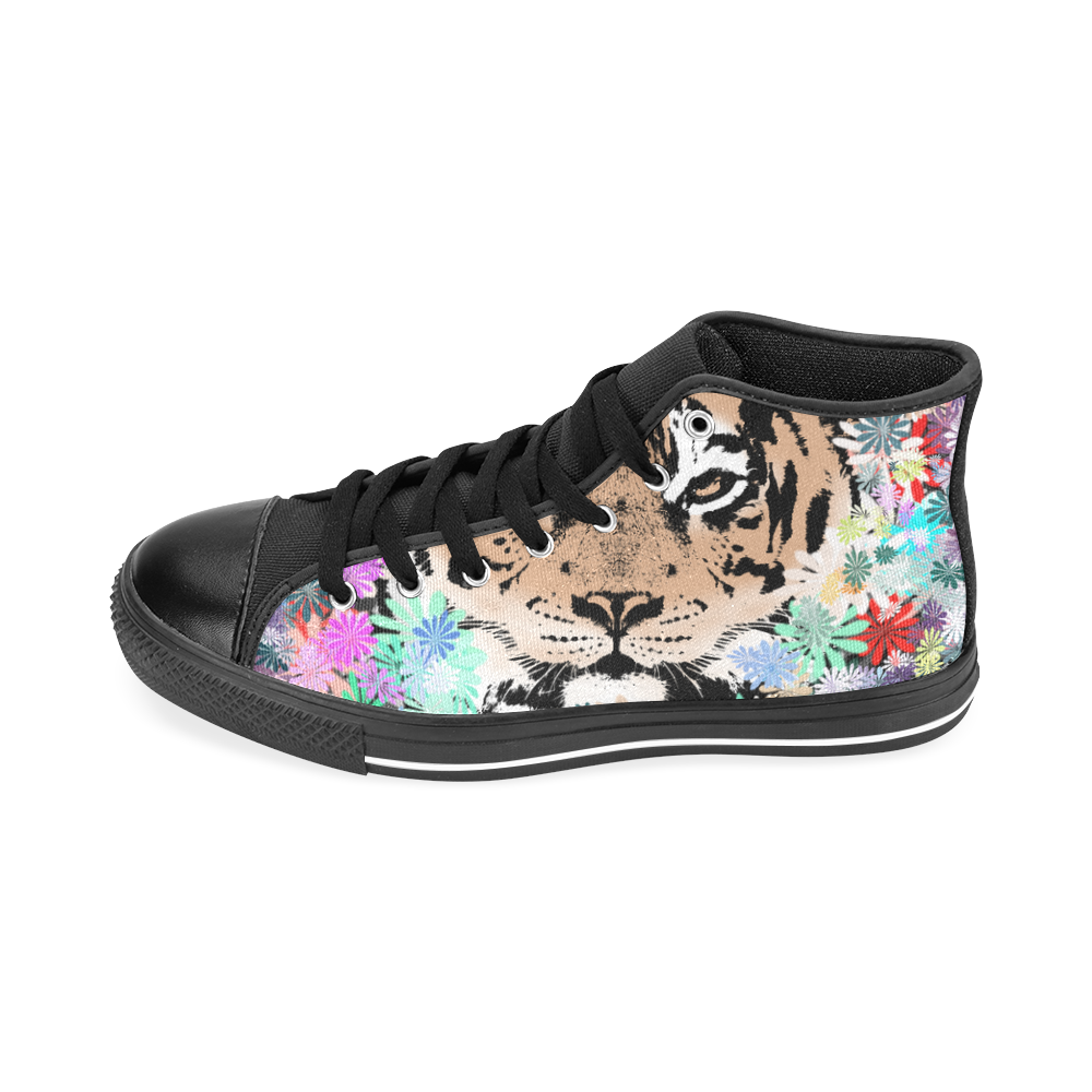 TIGER and FLOWERS Men's Classic High Top Canvas Shoes /Large Size (Model 017)