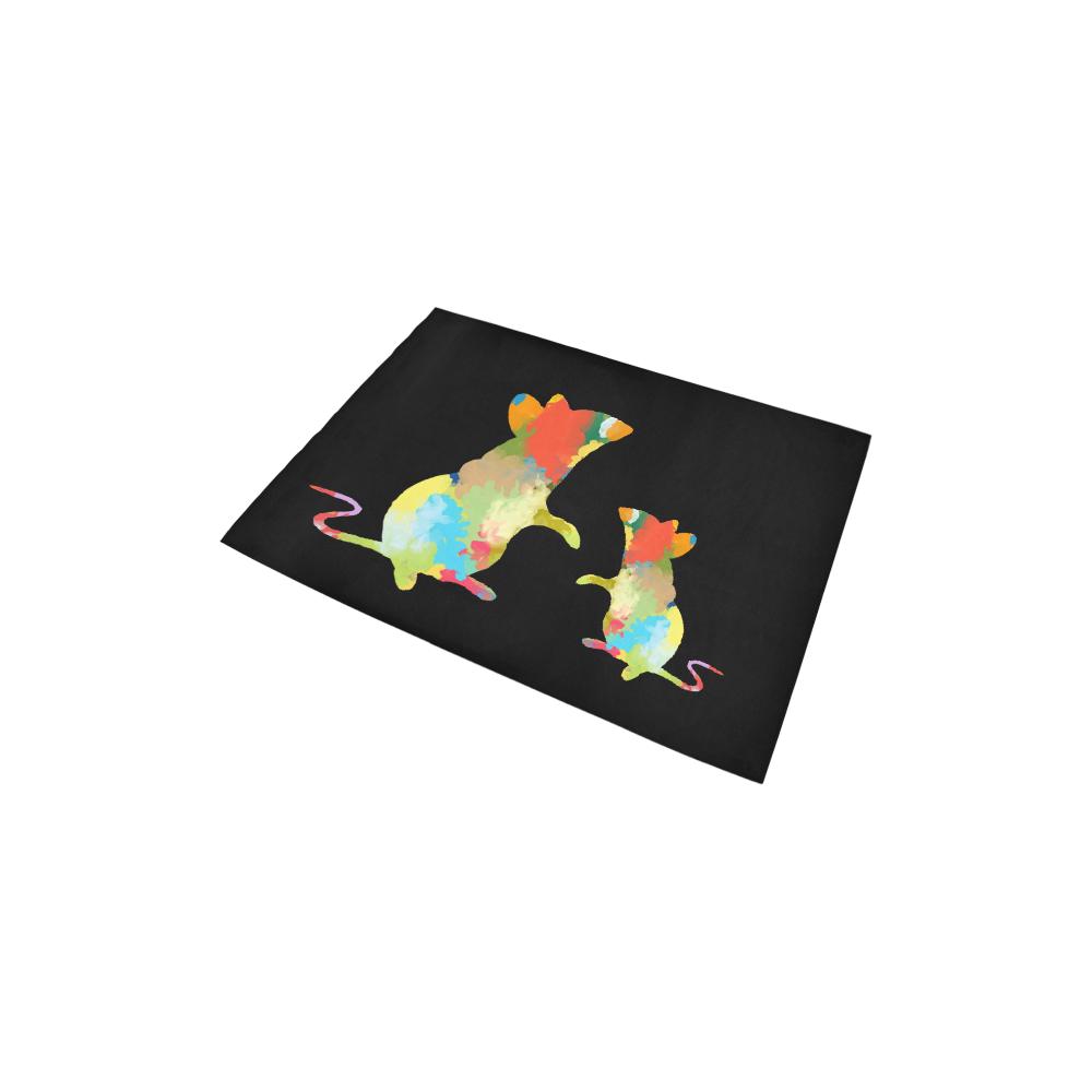 "Mouse Shape Colorful Splash Design Area Rug 2'7""x 1'8''"