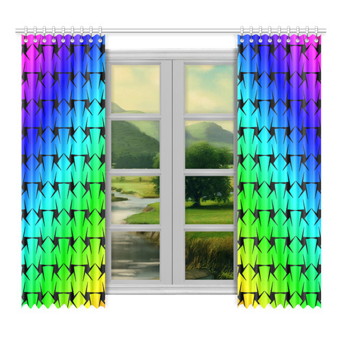 """Colorful Black Star Window Curtain 52""""x96""""(Two Piece)"""