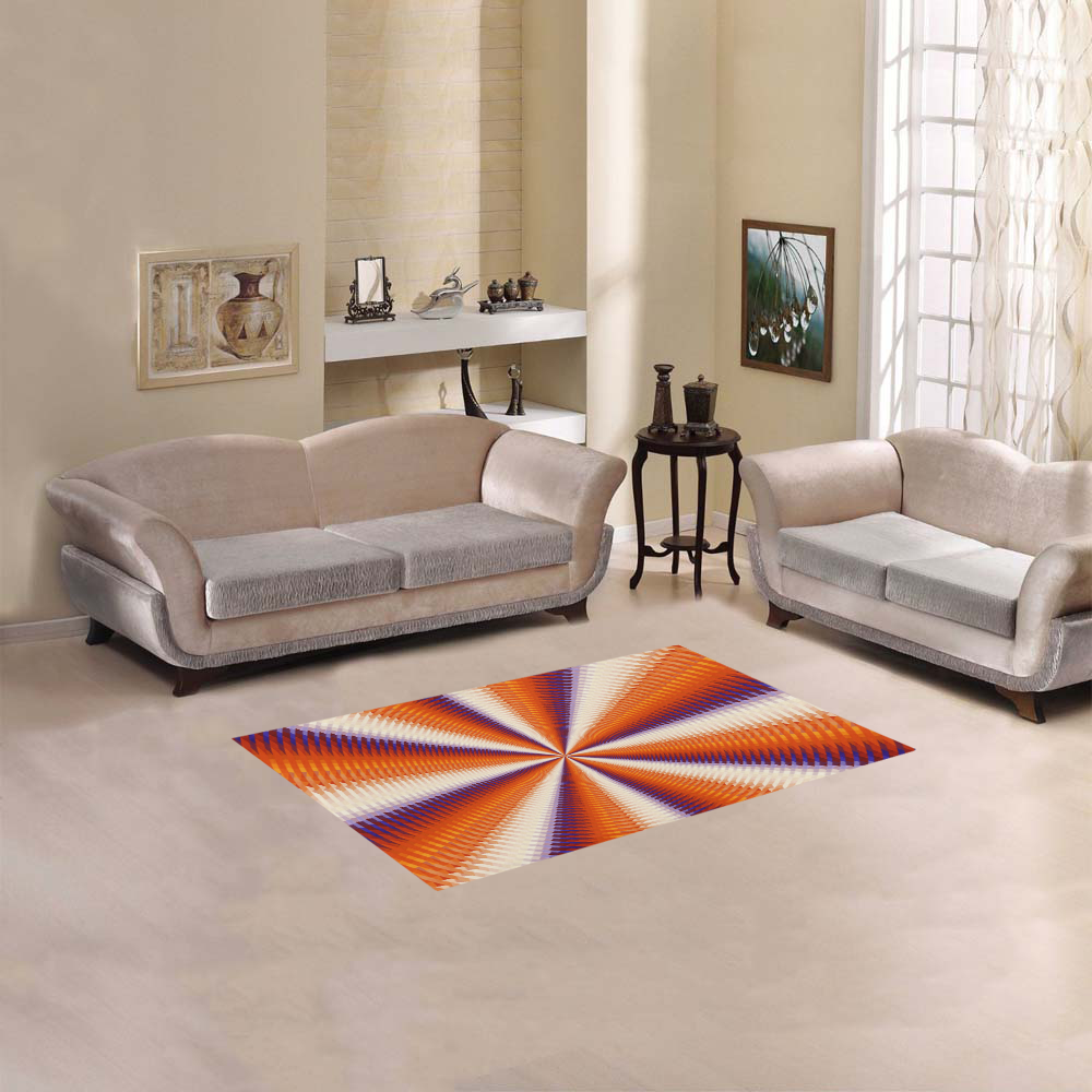 """Time Tunnel Orange Red Fawn Spiral Design Area Rug 2'7""""x 1'8''"""