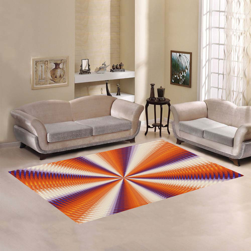 Time Tunnel Orange Red Fawn Spiral Design Area Rug7'x5'