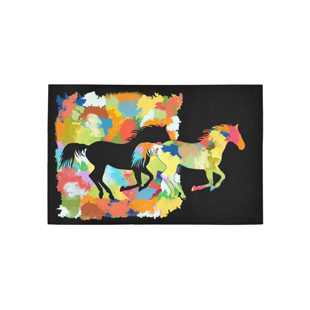 Horse  Shape Galloping out of Colorful Splash Area Rug 5'x3'3''